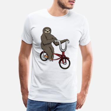 Sloth Cycling Sloth with bicycle, gift cycling animal - Men's Premium T-Shirt