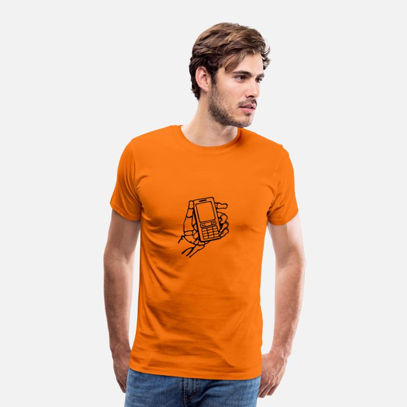 Skelet hånd med mobiltelefon. Intet signal. Herre premium T shirt orange