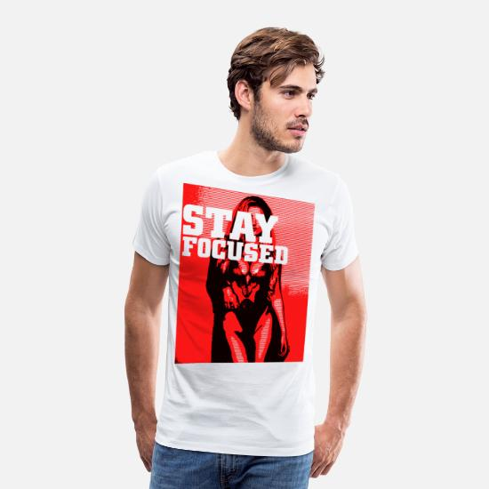 Présenter T-shirts - 2reborn rester concentré Focus fille Pin up sexy hot ch - T-shirt premium Homme blanc