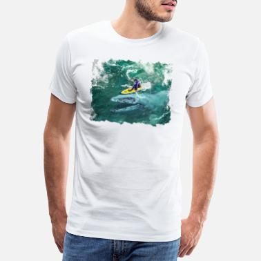 So Cool Mosasaurus In The Wave Cool Surfer T-Shirt - Men's Premium T-Shirt