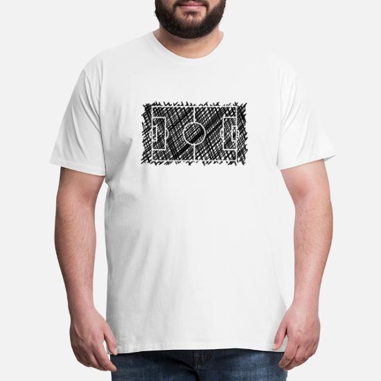Fussballfeld Schrafur Schwarz Manner Premium T Shirt