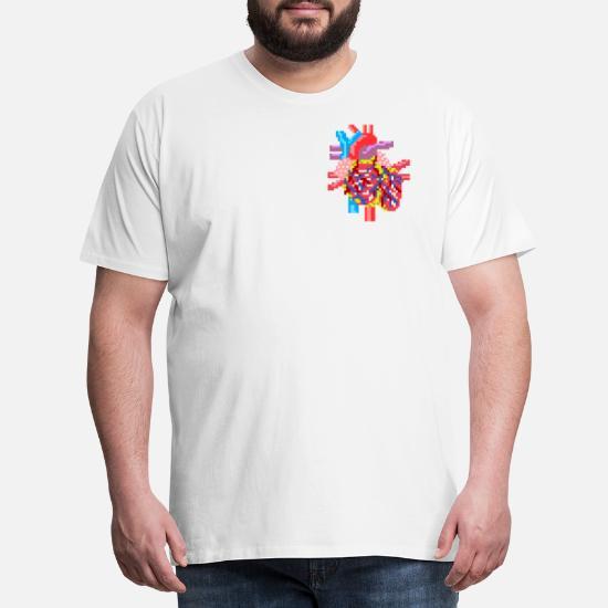 537c6bb2 Pixelart heart realistic Men's Premium T-Shirt   Spreadshirt
