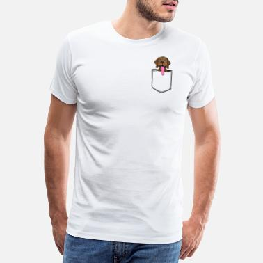 Brown Nose Brown dog with cute snub nose in breast pocket - Men's Premium T-Shirt