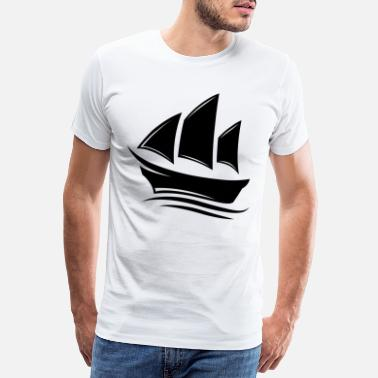Father And Daughter Sailboat sailing boat 4 black - Men's Premium T-Shirt