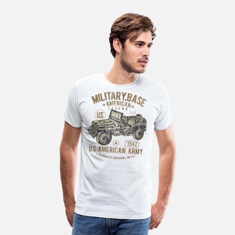 Army T-Shirts - MILITARY BASE - US Army Jeep Shirt Design - Men's Premium T-Shirt white