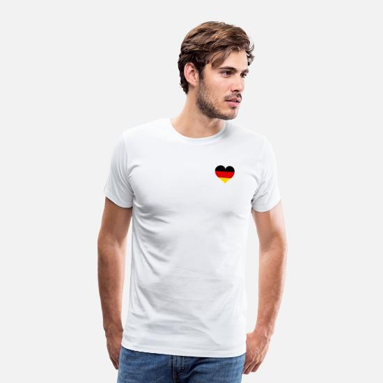 Flag Of Germany T-Shirts - Germany heart black-red-gold flag - Men's Premium T-Shirt white