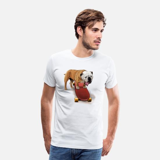 Tommys Selection T-Shirts - Bulldog Skater - Men's Premium T-Shirt white