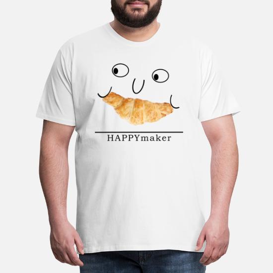 Happy maker design, croissant, face, fun Men's Premium T