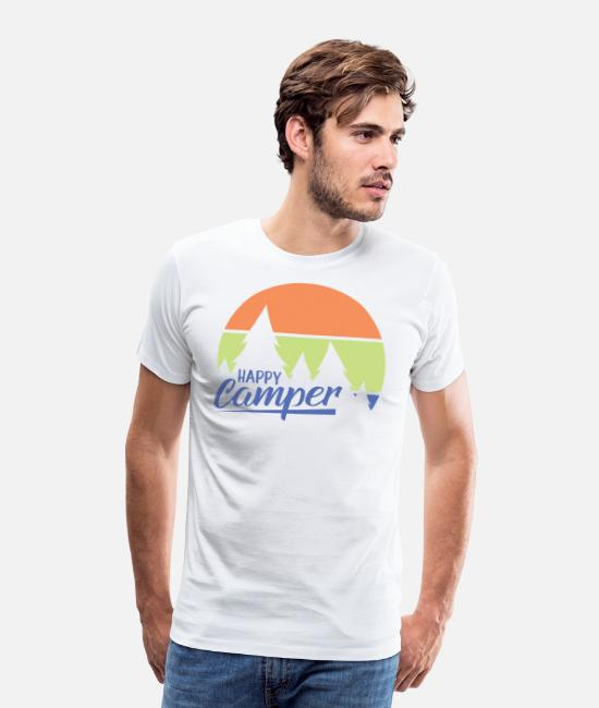 Walking T-Shirts - Happy Camper. Let's go Camping. - Men's Premium T-Shirt white
