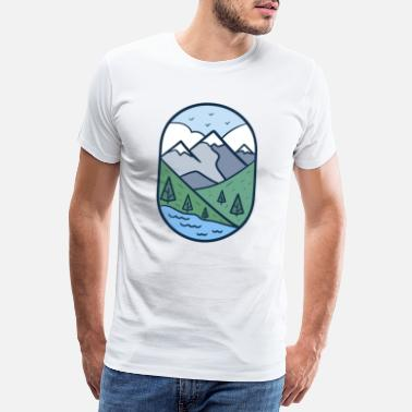 Parking Very beautiful landscape with mountains and water - Men's Premium T-Shirt