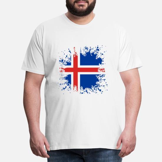 Island flagga färgstänk Premium T shirt herr | Spreadshirt