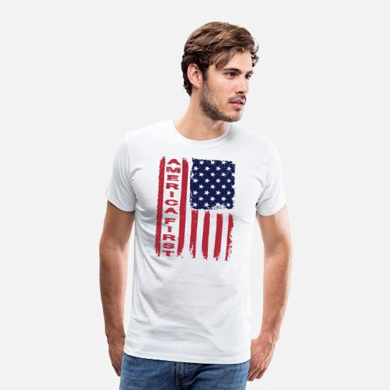 Usa T-Shirts - ★ America First ★ Donald Trump, Republican, USA - Men's Premium T-Shirt white