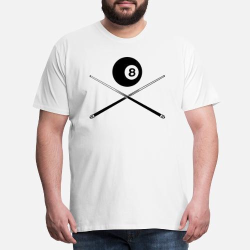 bola de billar negro con señal - Camiseta premium hombre. detrás. detrás.  Diseño. delante. delante 8232c93c4c04a