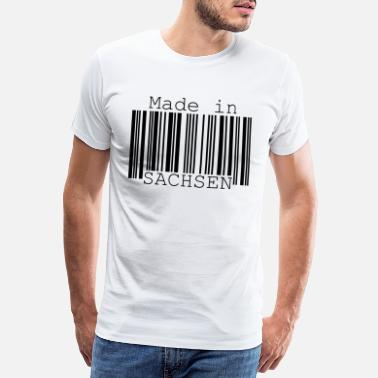Ore Mountains Made in Saxony Barcode Funny saying Leipzig Idea - Men's Premium T-Shirt