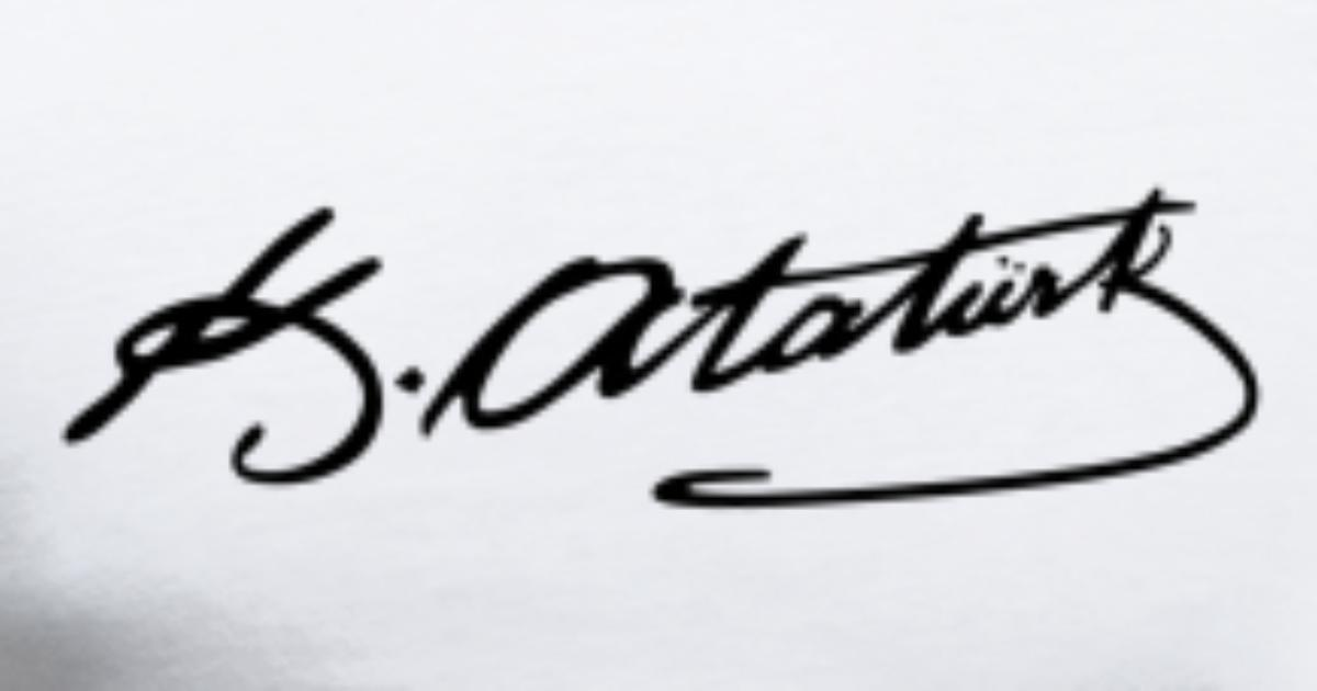 Mustafa Kemal Atatürk imza Tee Premium T skjorte for menn   Spreadshirt