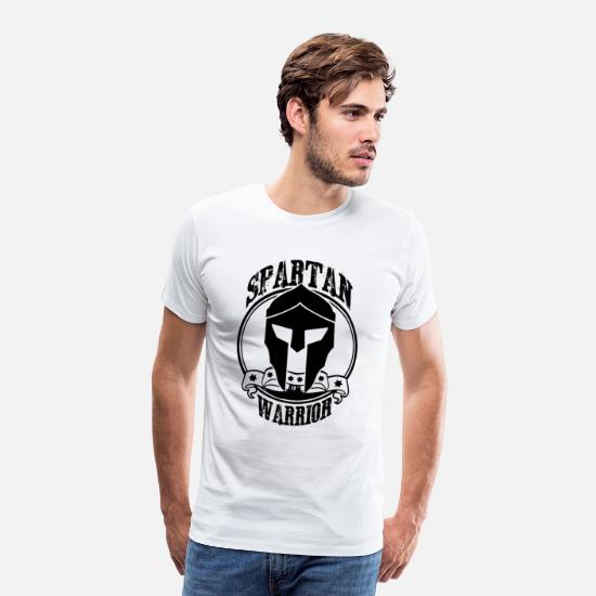 Spartaner T-Shirts - Spartan Warrior black - Männer Premium T-Shirt Weiß