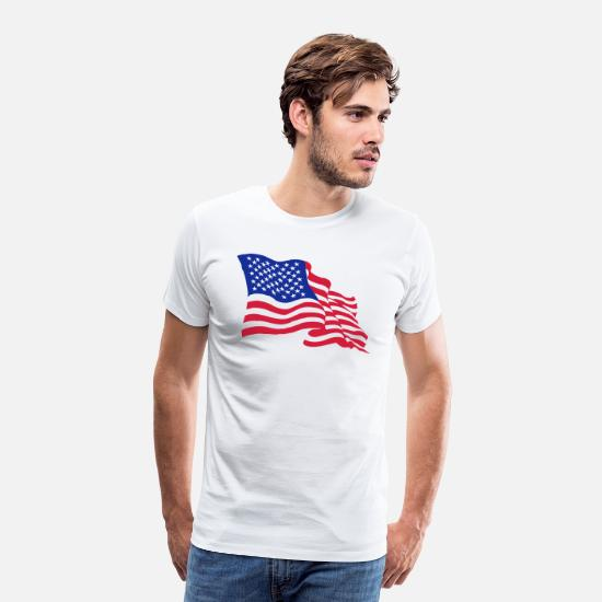 "T-Shirt /"" Flag America Flag /"" White the Happiness Is Have My T-Shirt New"