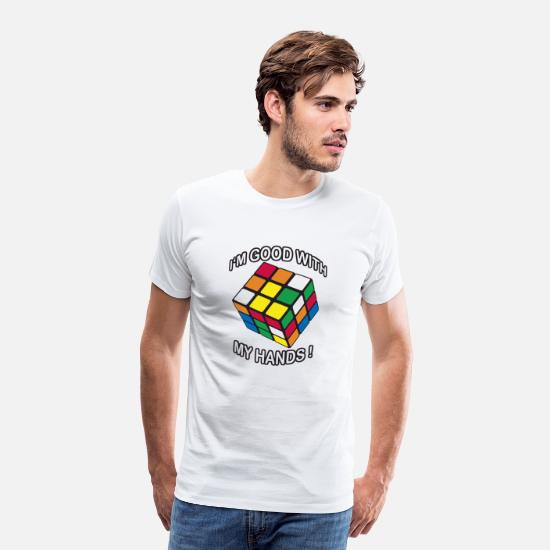 Cube T-Shirts - Rubik's Cube Quotes I'm Good With My Hands - Men's Premium T-Shirt white