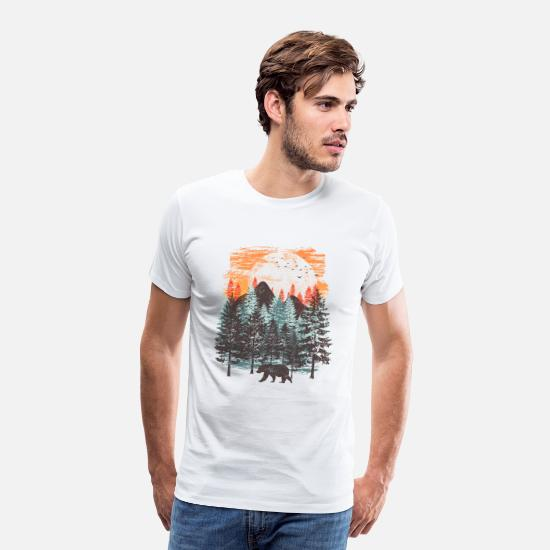 Collection T-shirts - Paysage forestier (ours) - T-shirt premium Homme blanc