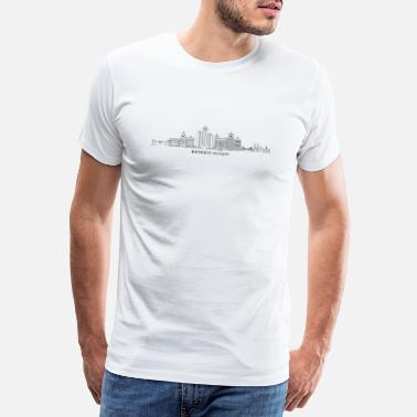 Build DETROIT Michigan USA Skyline City - Men's Premium T-Shirt