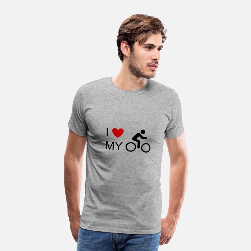 Jeg elsker min cykelcykel cykelcykel cykel mountainbike MTB Herre premium T shirt grå meleret