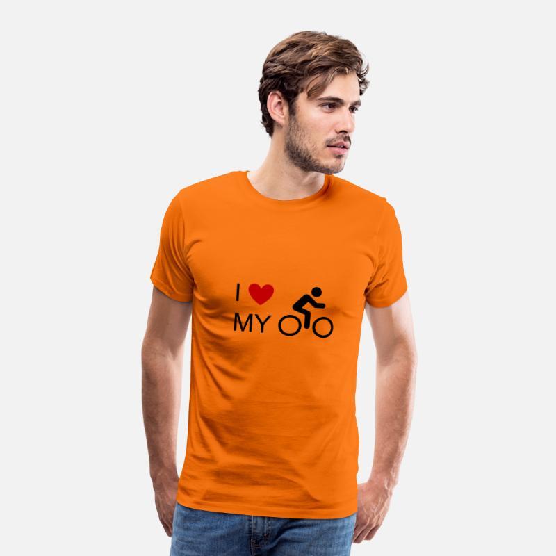 Jeg elsker min cykelcykel cykelcykel cykel mountainbike MTB Herre premium T shirt orange
