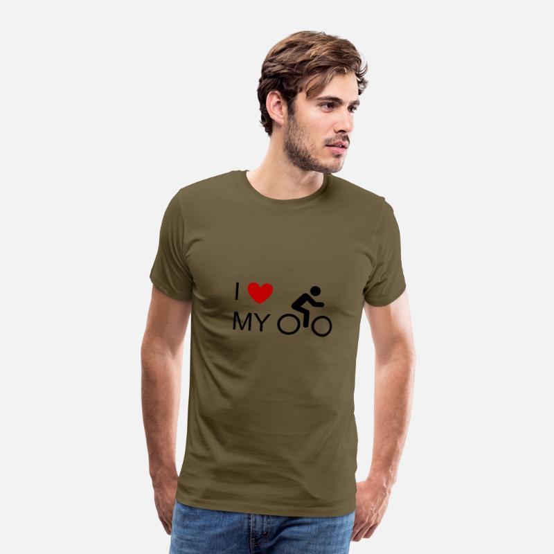 Jeg elsker min cykelcykel cykelcykel cykel mountainbike MTB Herre premium T shirt kaki