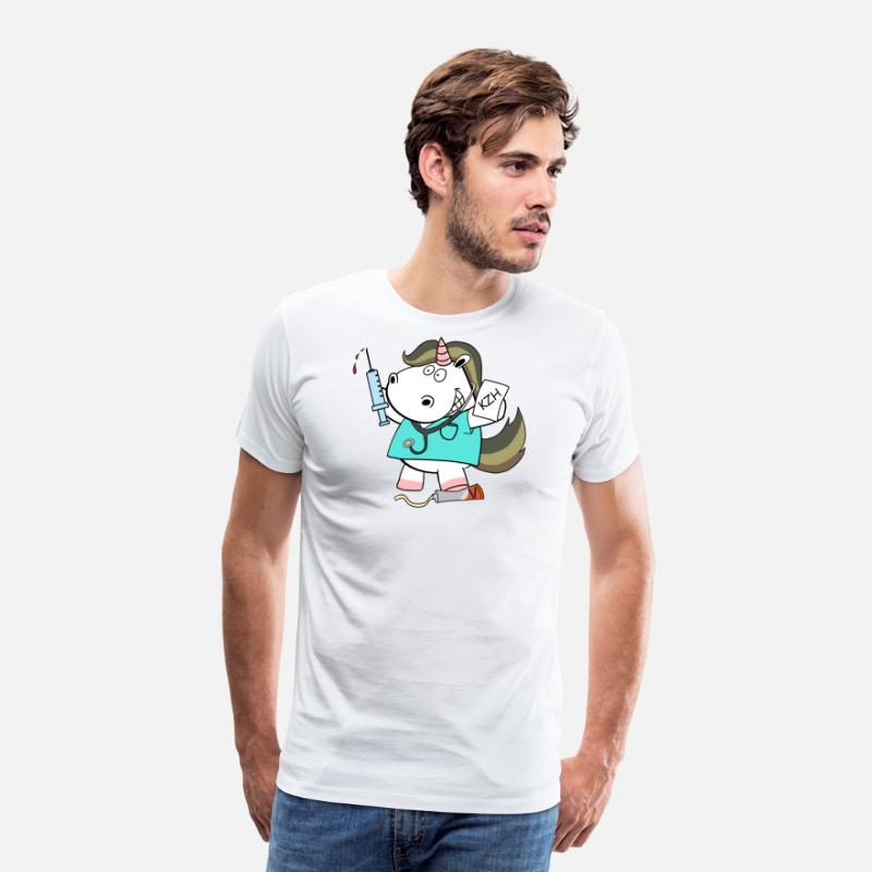 Doctor T-Shirts - Bundeswehr paramedic unicorn - Men's Premium T-Shirt white