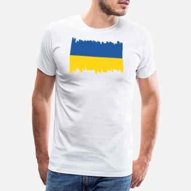 Supergau Ukraine National Flag - brush vertical - Männer Premium T-Shirt