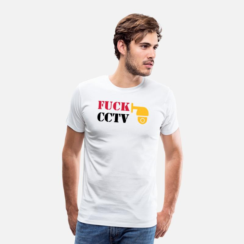 Usa T-Shirts - FUCK CCTV / MONITORING CAMERAS - Men's Premium T-Shirt white