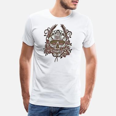 Macabre Skull and Roses - Men's Premium T-Shirt