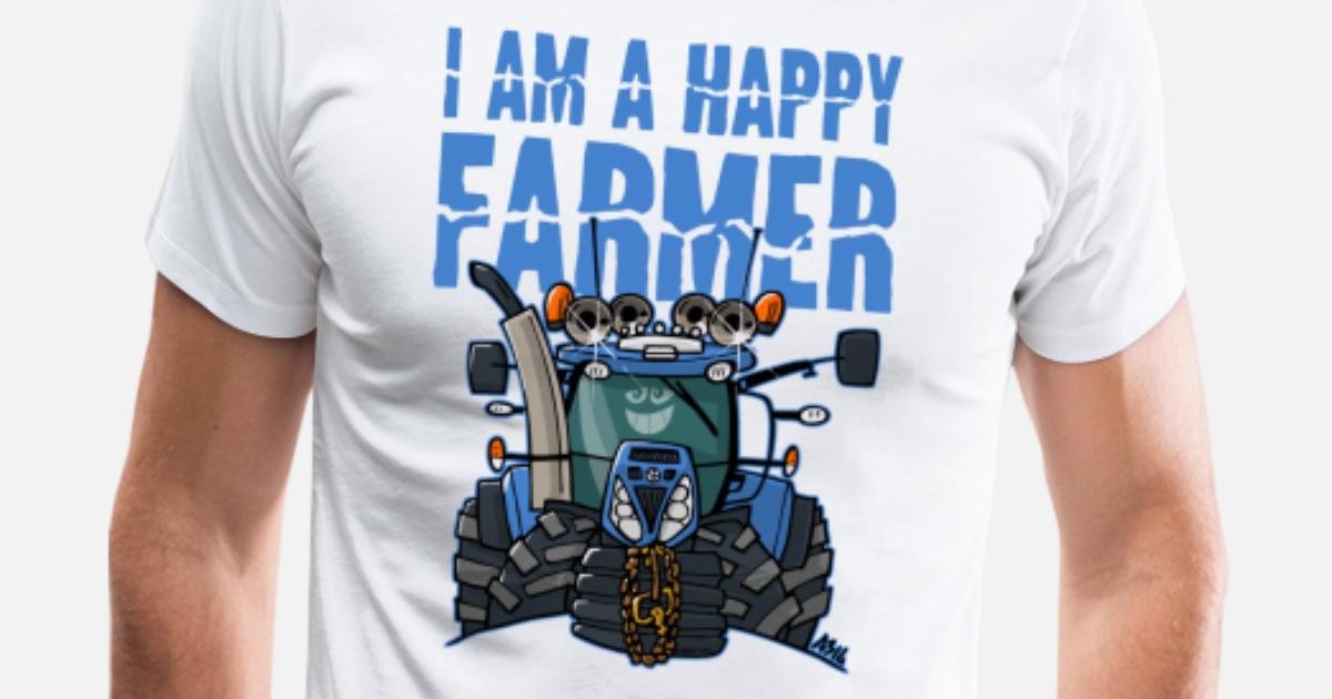 jag är en lycklig bonde (NewHolland) Premium T shirt herr vit