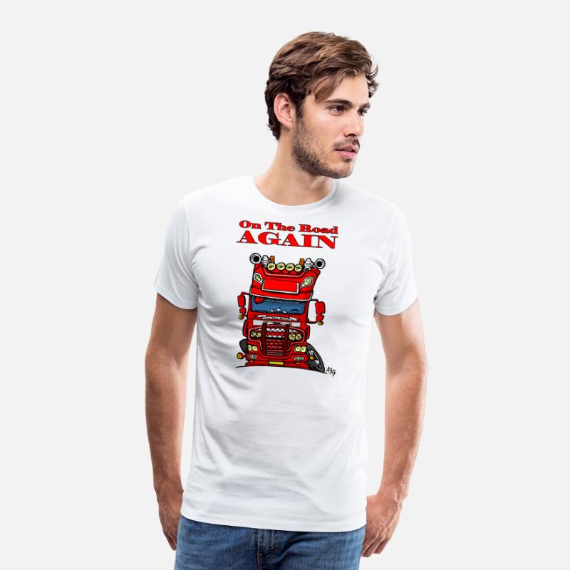 Zwaailicht T-Shirts - 0613 daf fx on the road again - Mannen premium T-shirt wit