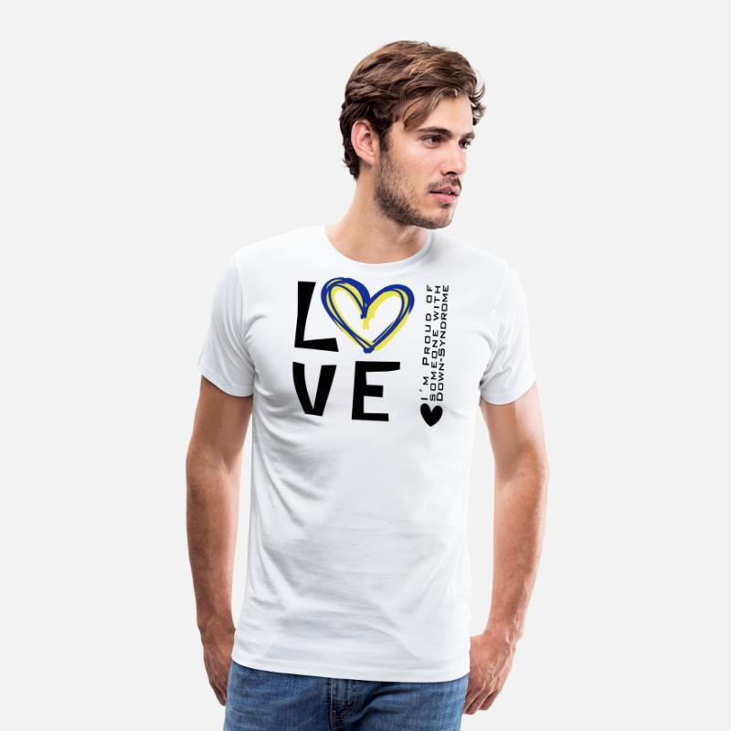 Down T-Shirts - LOVE SOMEONE WITH DOWN SYNDROME | The colorful zebra - Men's Premium T-Shirt white