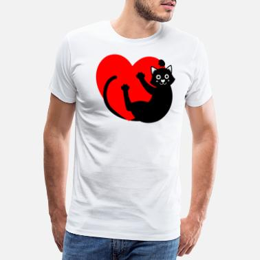 Black cat hanging from the heart - Men's Premium T-Shirt