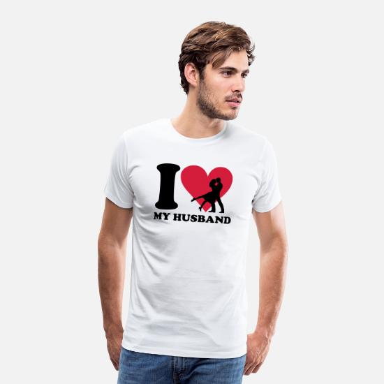 I Love T-shirts - I love my Husband - Premium T-shirt herr vit