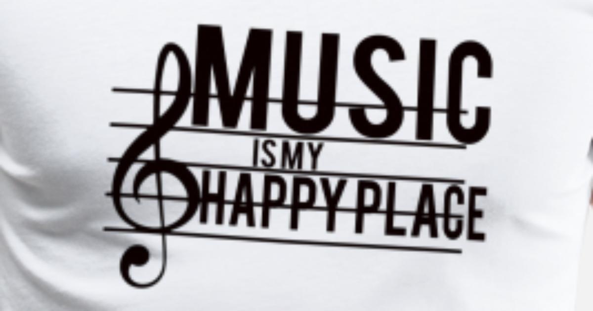 MUSIKK: Musikk er mitt lykkelige sted Premium T skjorte for
