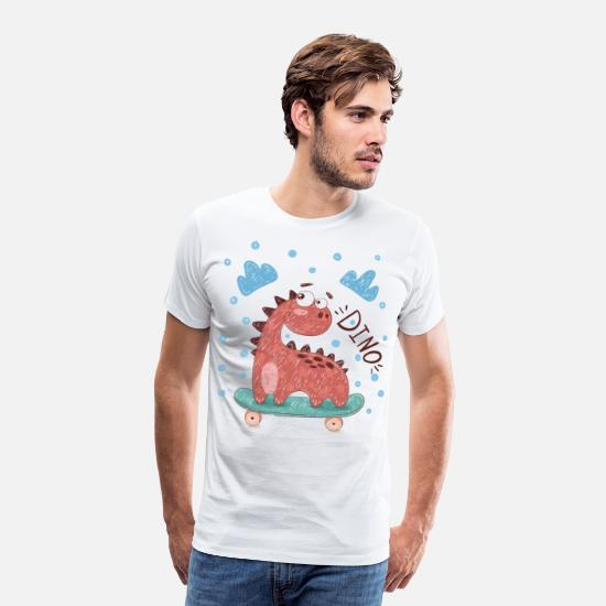 Skateboard T-Shirts - Skater Dino Shirt for Boys - Men's Premium T-Shirt white