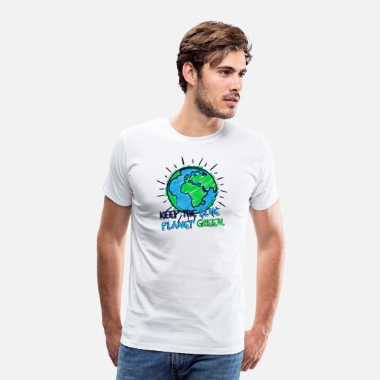 Climate T-Shirts - Earth & Lettering (Blue Planet Green) - Men's Premium T-Shirt white