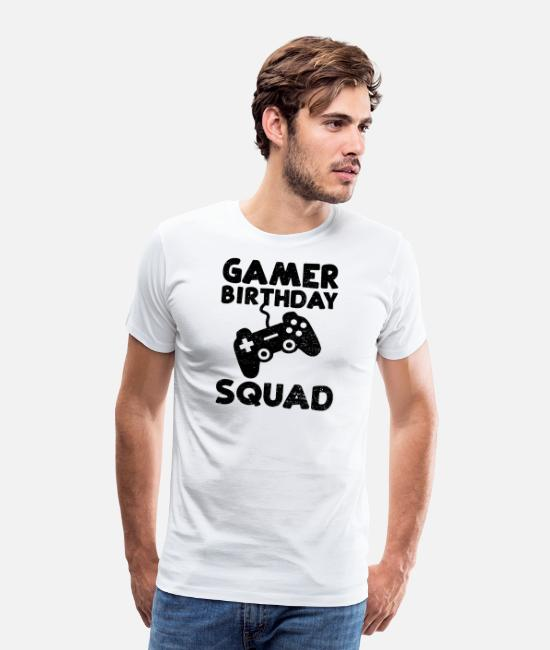 Jul T-skjorter - Gamer Birthday Squad - fødselsdato for bursdagen - Premium T-skjorte for menn hvit