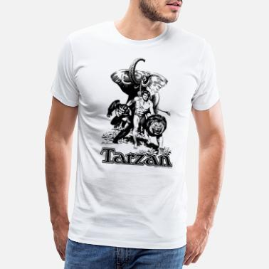 Elephant Tarzan with elephant, lion and apes - Men's Premium T-Shirt