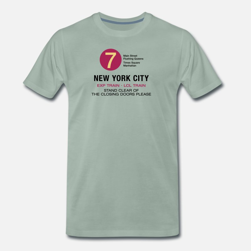 e7a130139dc New York City Subway Subway 7 Manhattan Queens NYC Men s Premium T-Shirt