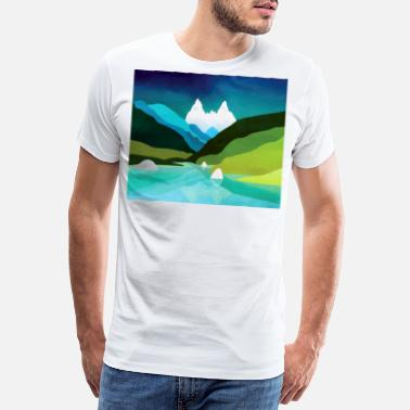 Nano Green hills by the lake - Männer Premium T-Shirt