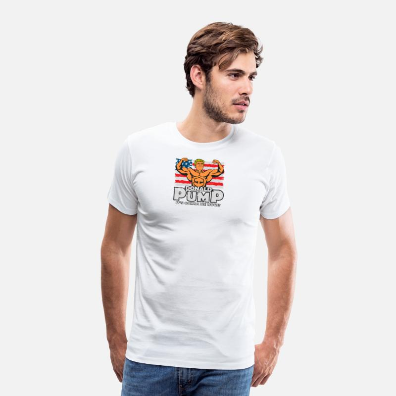 Aesthetic T-Shirts - Donald Pump Color - Men's Premium T-Shirt white