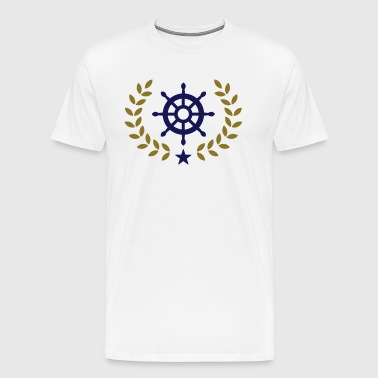Wreath ship's wheel, boat, star, yacht, club, team - Men's Premium T-Shirt