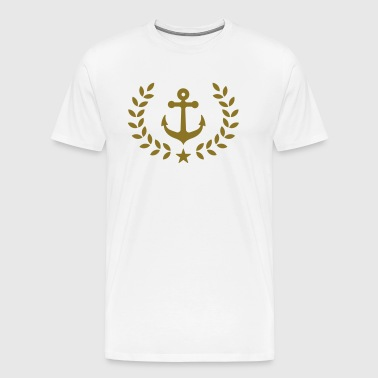 Anchor, laurel wreath, harbor, sailing, regatta - Men's Premium T-Shirt