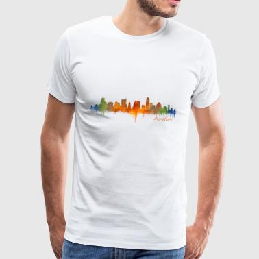 Austin Texas skyline USA. Farverige cool design - Herre premium T-shirt