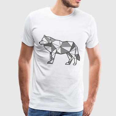 Wolf geometric gift idea animal wilderness lines - Men's Premium T-Shirt