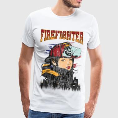 PRETTY WOMAN FIREFIGHTER - Sexy Brannmann gave - Premium T-skjorte for menn