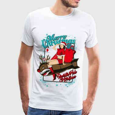 Sex Bomb AIRLINE - Kerstmis pin-up bom - Mannen Premium T-shirt
